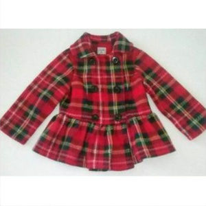 Mack & Co Fleece Peplum Jacket Red Plaid